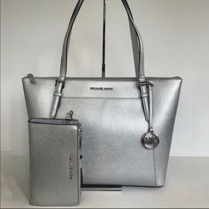 2pc Michael Kors Ciara silver tote bag wallet set